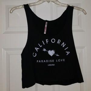 Crop Black California Paradise Love Laguna Tank